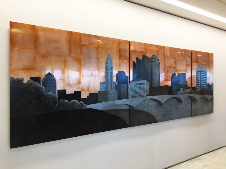 Columbus Skyline, 48x144 inches, commission for Baker Hostetler