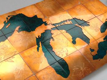 Great Lakes etched copper map art by Copper Leaf Studios