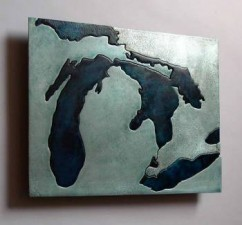 Great Lakes metal art map by Copper Leaf Studios