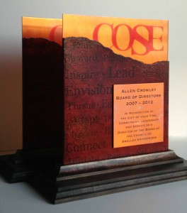 Custom corporate awards for COSE by Copper Leaf Studios