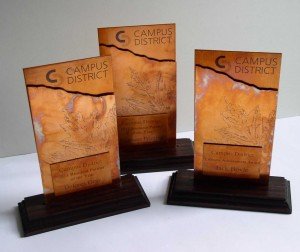 Custom copper awrads for Campus District by Copper Leaf Studios