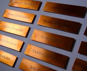 Custom copper nameplates by Copper Leaf Studios