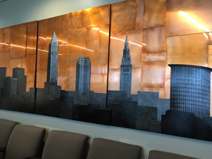 Custom copper Cleveland skyline large artwork by Copper Leaf Studios