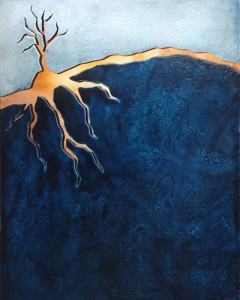 Copper Tree Blue Landscape