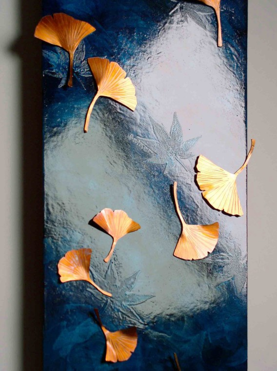 Ginko Leaves copper artwork