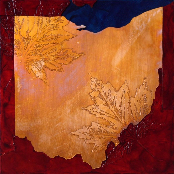 Copper map art of Ohio