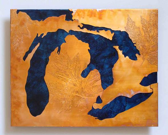 Great Lakes copper artwork in copper and blue
