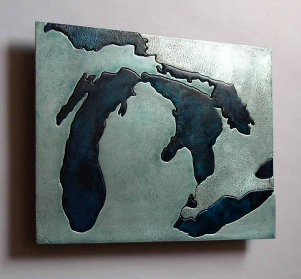 Great Lakes cut metal wall art