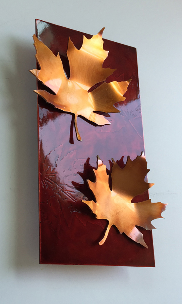 Copper and Red Maple Leaf Art